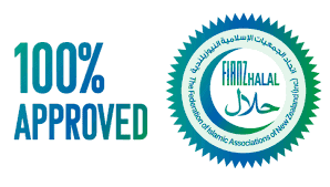 FIANZ Halal 100% approved badge